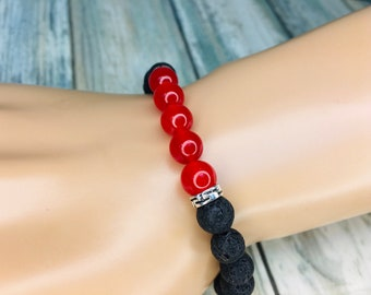 Black LAVA BEAD & Red Accent Beads Volcanic Stone Rock Bracelet Essential Oil Diffuser Elastic Men's Women's Dixie Cowboy J14
