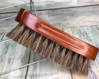 "USA Made Natural BOAR Hair Wood Beard Bristle Super Soft Brush BEARDS & Body Brush Short Hair 5"" Palm Military Dixie Cowboy U1"