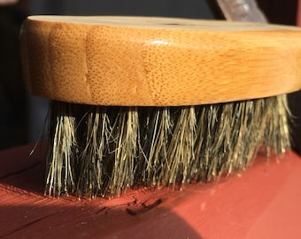 Small Size BOAR Hair Bamboo Wood Perfect for Mustache or Beard Bristle Brush Soft Palm Military USA Made Dixie Cowboy Tx30