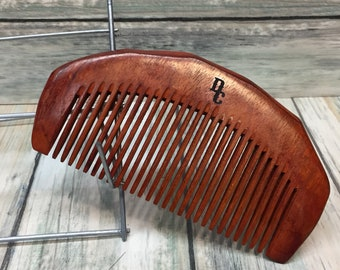 """Texas ROSEWOOD Redwood Wood HAIR COMB Handmade 5"""" Perfect Beard Purse or Pocket Hand Medium Wide Tooth Wet Dry Hair Comb Dixie Cowboy v23"""