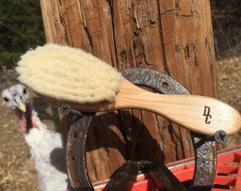 "100% Texas GOAT Brush Farm Raised Goats Hair Bristle 7"" Beechwood Wood Handle Hair Body Face Skin Dry Barber Neck Duster Beard Baby Tx70"