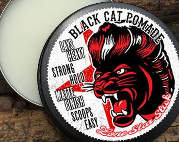 Featured listing image: BLACK CAT POMADE Scoops Easy Lays Heavy Matte Finish Strong Firm Hold Natural Ingredient Hair Lone Star Slick Dixie Cowboy 4oz Grease