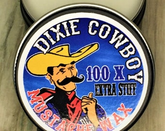 ORGANIC Mustache Wax USA Made Dixie Cowboy Original All Natural Petroleum Free 100X Extra STIFF Strong Hold Handlebar Moustache