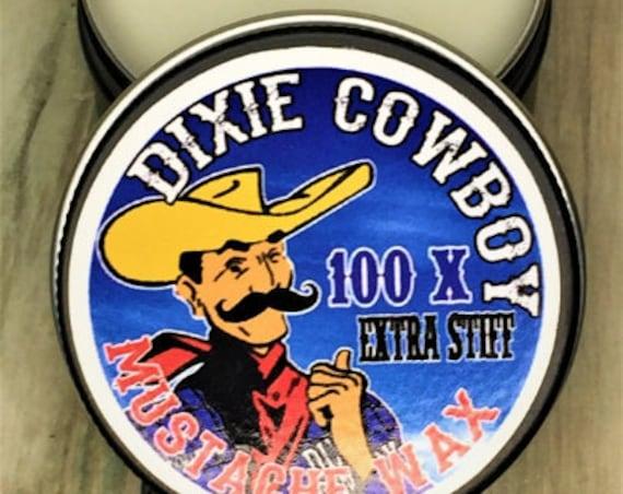 100X Dixie Cowboy ORGANIC 1 oz Mustache Wax USA Made Original All Natural Petroleum Free 100X Extra STIFF Strong Hold Handlebar Moustache