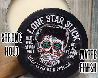 ORGANIC DEAD ELVIS Strong Firm Hold Oil Based Pomade Matte Finish Natural Hair Lone Star Slick 4oz Rockabilly Greaser Styling Grease