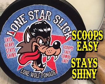 LONE WOLF POMADE Scoops Easy Lays Heavy Stays Shiny Medium Hold Mid Natural Ingredient Hair Lone Star Slick by Dixie Cowboy 4oz Grease