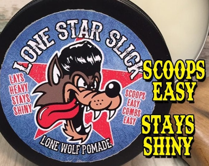 Featured listing image: LONE WOLF POMADE Scoops Easy Lays Heavy Stays Shiny Medium Hold Mid Natural Ingredient Hair Lone Star Slick by Dixie Cowboy 4oz Grease