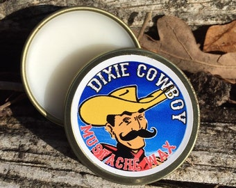 Dixie Cowboy - Premium Grade All Natural Petroleum Free & Organic Mustache Wax in REGULAR HOLD in Unscented and Scented