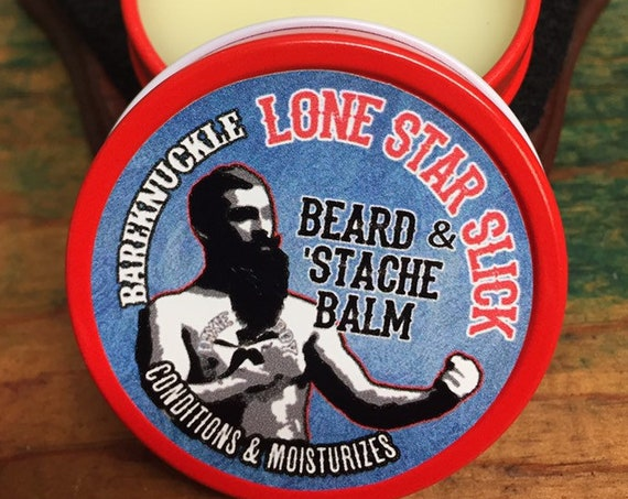 Lone Star Slick Natural Bareknuckle BEARD & MUSTACHE BALM Salve Hair Conditioner Softener 1oz Petroleum Free Mustache Beard Dixie Cowboy