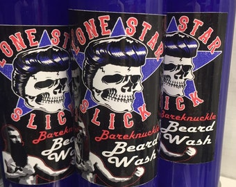 BEARD WASH Creamy Milk Face & Hair Wash 4oz and 8oz Available Cruelty Soy Paraben Free Bath Gel Soap Men's Lone Star Slick Dixie Cowboy