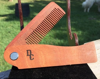 "Handmade 7"" Texas MESQUITE FOLDING COMB Perfect Gift Wood Hair Comb Folding Pocket Purse Styling Beard Mustache Men's Women's f26"