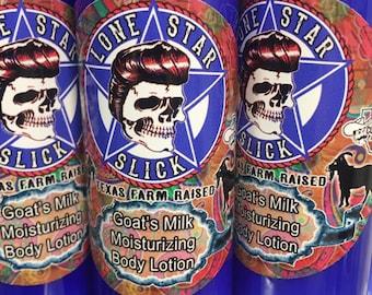 GOAT'S MILK LOTION Lavender & Aloe Texas Farm Raised Nourishing 4oz 8oz Moisturizing Sulfate Soy Gluten Free Men's Women's Lone Star Slick