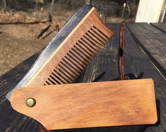 "Handmade 9"" Texas Rosewood Large PERFECT Gift Wood Hair Comb Folding Pocket Purse Styling Beard Mustache Men's Women's v6"