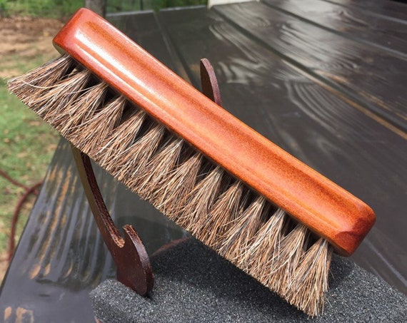 "Rustic Reclaimed Wood 100% HORSE Hair Soft Bristle Mini 6"" Wood Paddle Military Brush Perfect for Baby Beard & Fine Hair horsehair j72"