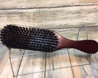 "USA Made NATURAL BOAR Hair Brush Curved Contoured Wood Long Handle 9"" Bristle Firm Stiff Styling Brush Hair Beard Dixie Cowboy q06"