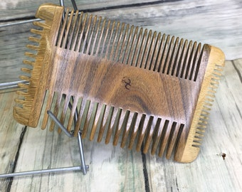 "USA Made Four 4 Sided Green SANDALWOOD 4"" Styling Dress Pocket Perfect Beard Mustache Short Hair or Pet WOOD Hair Comb Dixie Cowboy F26"