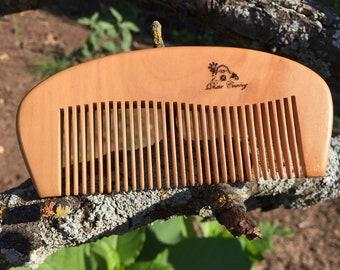 """Handmade TEXAS Reclaimed PEACH WOOD 5"""" Styling Dress Pocket Purse Perfect Beard Mustache Hair Comb Men's Women's Dixie Cowboy e07"""