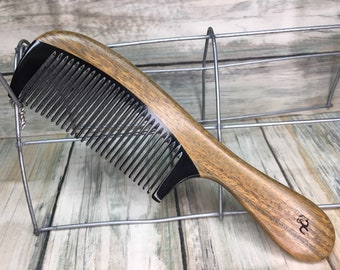 "USA Made Green Sandalwood Wood & Buffalo Ox HORN COMB Detangler Fine Tooth 7""  Handle Hair Beard Dixie Cowboy Anti Static F49"