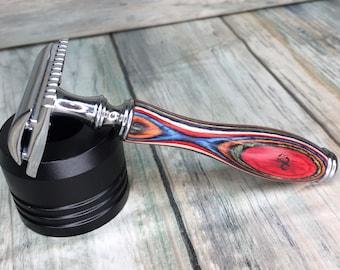 USA MADE Men's & Women's Painted Colorful Unique Wood Pakka Handle Shaving Razor Safety Double Edge DE Dixie Cowboy y16