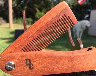 "Handmade 7"" Texas ROSEWOOD Rose FOLDING COMB Perfect Gift Wood Hair Comb Folding Pocket Purse Styling Beard Mustache Men's Women's f18"