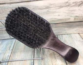 """USA MADE Handmade Natural BOAR 7"""" Curved Contoured Hair Bristle Soft medium Club Brush Hair Beard Wood Handle Dixie Cowboy Tx58"""