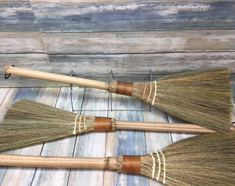 USA Made Handmade SIlvergrass Miscanthus & Bamboo Reed handle Short Hand Stick Whisk Garage Broom Brush Cleaning Kitchen Kids Dixie Cowboy 1