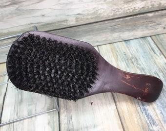 """USA MADE Handmade Natural BOAR 7"""" Curved Contoured Hair Bristle Soft medium Club Brush Hair Beard Wood Handle Dixie Cowboy Q20"""
