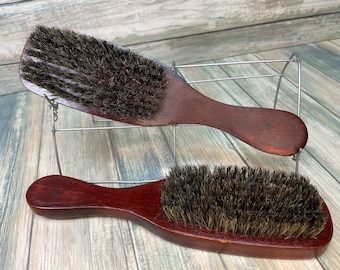 """USA MADE Red Reclaimed Wood & Natural BOAR Hair 9"""" Bristle Soft Medium Styling Smoothing Finishing Brush Handle Dixie Cowboy"""