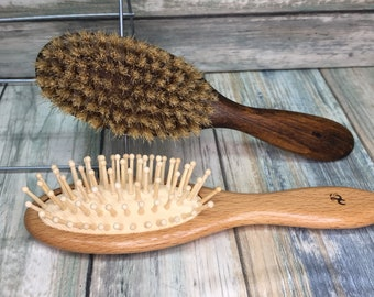 Free Shipping 2pc Brush Set USA Made Natural BOAR Hair Bristle Styling Brush & Beechwood All Wood Cushion Detangling Paddle Dixie Cowboy BbC