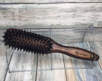 """USA Made Boar Hair Reinforced Pin & WOOD Handle 9"""" Styling Smoothing Detangling Detailing Wet Dry Brush Hair Firm Stiff Dixie Cowboy R14"""