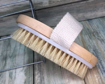 "USA Made BOAR Hair Body Shower 5"" SCRUB Brush Exfoliating Cellulite Bath Dry Skin Brushing Bristle Wood Dixie Cowboy U4"