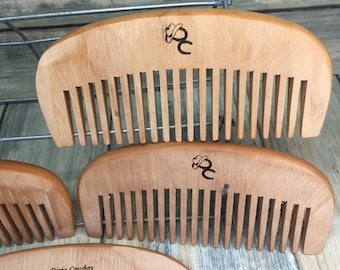 """Promo Comb Special - TEXAS Reclaimed PEAR Raw WOOD 4.5"""" Pocket Purse Perfect Beard Mustache Hair Comb Men's Women's Dixie Cowboy y10"""