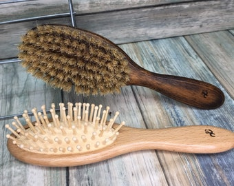 Free Shipping 2pc Brush Set USA Made Natural BOAR Hair Bristle Styling Brush & Beechwood All Wood Cushion Detangling Paddle Dixie Cowboy J80
