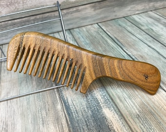 "USA MADE Handmade Whole Piece Green SANDALWOOD 7"" Handle Detangler Medium Wide Detangler Thick Deep Tooth Wood Hair Comb Dixie Cowboy A7"