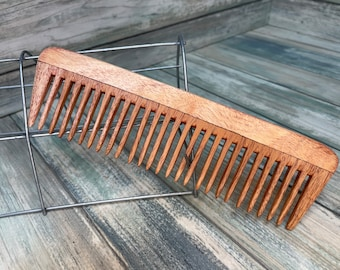 """USA Made NEEM Wood eco friendly 7.5"""" Wide Tooth Detangling Styling Pocket Dress Anti Static Wet Hair Comb Dixie Cowboy D2"""