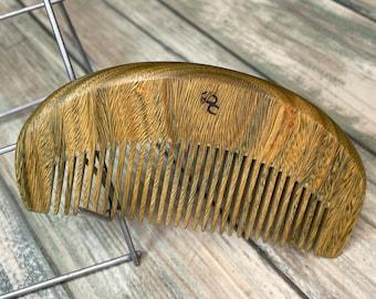 "USA Made Green SANDALWOOD WOOD 4"" Medium Fine Tooth Detangling Dry Wet Hand Coarse Tooth Pocket Purse Hair Beard Dixie Cowboy C28"