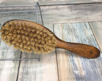 "USA Made NATURAL Rare Color BOAR Hair Brush Wood Long Handle 7.5"" Bristle Soft Medium Stiffness Styling Brush Hair Beard Dixie Cowboy Q31"