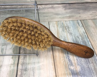 "USA Made NATURAL Rare Color BOAR Hair Brush Wood Long Handle 7.5"" Bristle Soft Medium Stiffness Styling Brush Hair Beard Dixie Cowboy Z10"