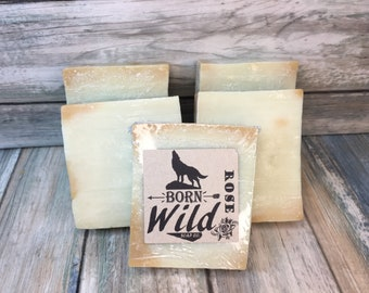 ROSE & OLIVE OIL Soap - Born Wild Soap Co. - Bar Herbal Essential Oils All Natural and Organic Ingredients 4.5 oz Dixie Cowboy