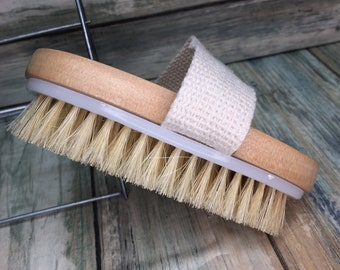 "USA Made BOAR Hair Body Shower 5"" SCRUB Brush Exfoliating Cellulite Bath Dry Skin Brushing Bristle Wood Dixie Cowboy r23"