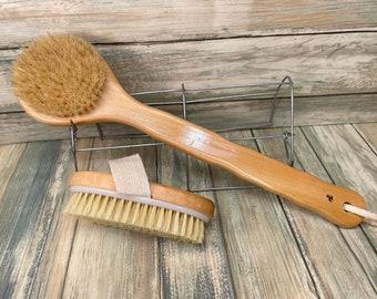 USA Made BOAR Hair Body Shower SCRUB Brush Set Wood Handle Exfoliating Cellulite Back Bath Dry Skin Brushing Bristle Dixie Cowboy Bb6