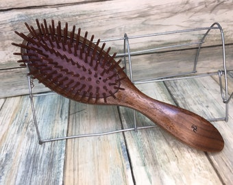 "USA Made Rare Black Walnut All WOOD Bristle Teeth Detangler Detangling Wet 8.5"" Wood Cushion Hair Paddle Brush Hair Handle Dixie Cowboy U25"