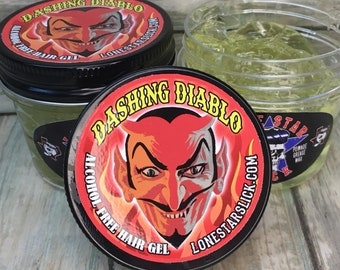 DASHING DIABLO Alcohol Free Olive Oil & Vitamin E Hair GEL 6oz Firm Stiff Max Hold Styling Molding Non Flaking Salon Quality Dixie Cowboy