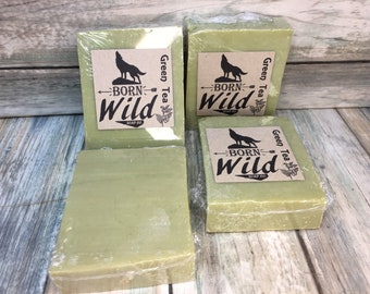 GREEN Tea & OLIVE OIL Soap - Born Wild Soap Co. - Bar Herbal Essential Oils All Natural and Organic Ingredients 4.5 oz Dixie Cowboy