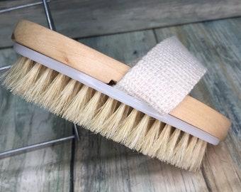 "USA Made BOAR Hair Body Shower 5"" SCRUB Brush Exfoliating Cellulite Bath Dry Skin Brushing Bristle Wood Dixie Cowboy T18"