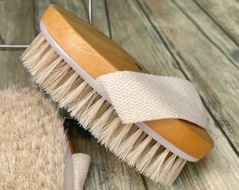 "USA Made BOAR Hair Body Shower 5"" SCRUB Brush Exfoliating Cellulite Bath Dry Skin Brushing Bristle Wood Dixie Cowboy J17"
