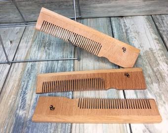"USA Made 5"" BAMBOO WOOD Eco Friendly Pocket Barber Comb Dress Anti Static Wet dry Hair Comb Dixie Cowboy V10"