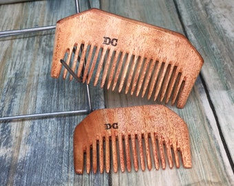USA Made NEEM WOOD eco friendly 2pc Set Beard Mustache Styling Pick Pocket Hair Comb Dixie Cowboy A36