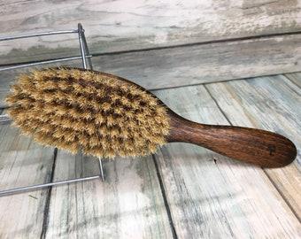 "USA Made NATURAL Rare Color BOAR Hair Brush Wood Long Handle 7.5"" Bristle Soft Medium Stiffness Styling Brush Hair Beard Dixie Cowboy U32"