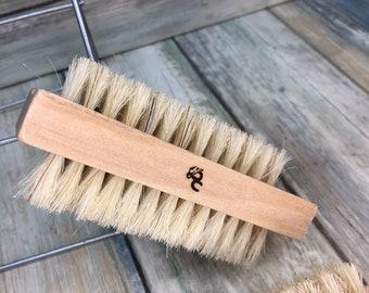 "USA Made Boar Hair Utility 2 Sided Brush WOOD Bristle 4"" Scrub Palm Gardener's Hand Nail Feet foot Vegetable Fingernail Dixie Cowboy N1"